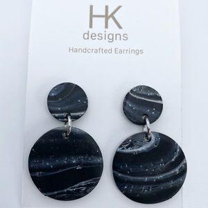 🆕Unique Dark Marble Design Handmade Earrings